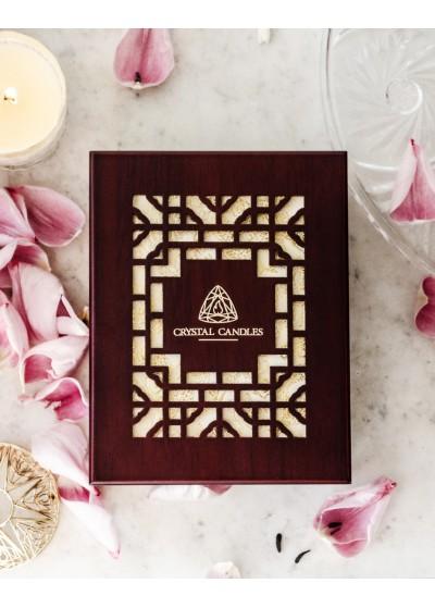 Crystal Candles drewniane pudełko szkatułka Elegancka Luksusowa świeca