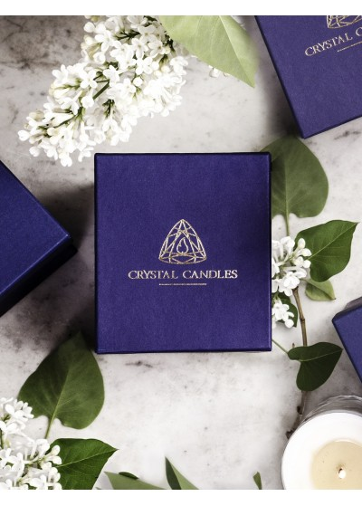 Crystal Candles Paper Box for Luxury Scented Soy Candles in Crystal Glass, Royal Blue, Navy, Gold logo