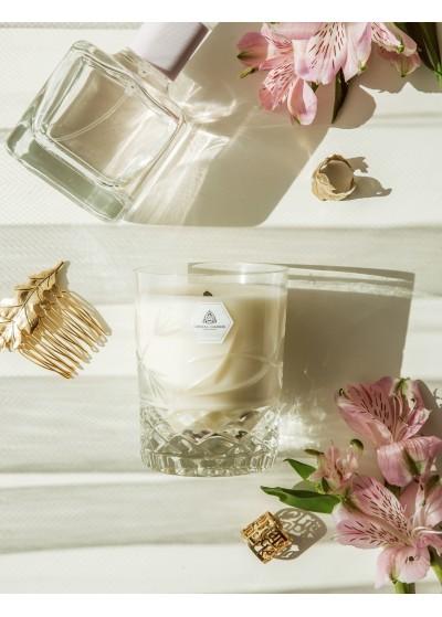 Crystal Candles Białe Kwiaty Julietta regular, Luksusowa i elegancka świeca zapachowa w krysztale