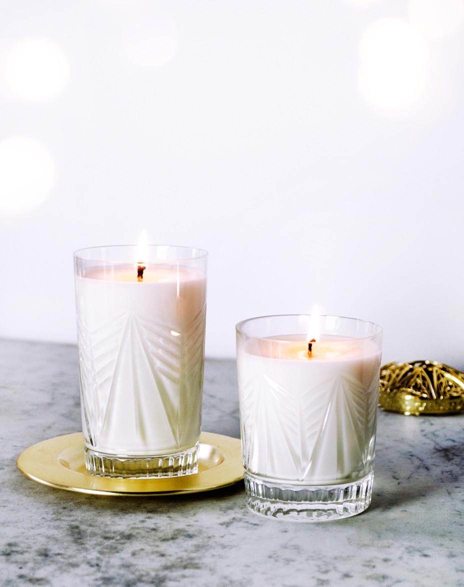 Cedr i Grejpfrut Olejki Eteryczne Crystal Candles świeca zapachowa w krysztale Elegancka świeca Gabriel Medium