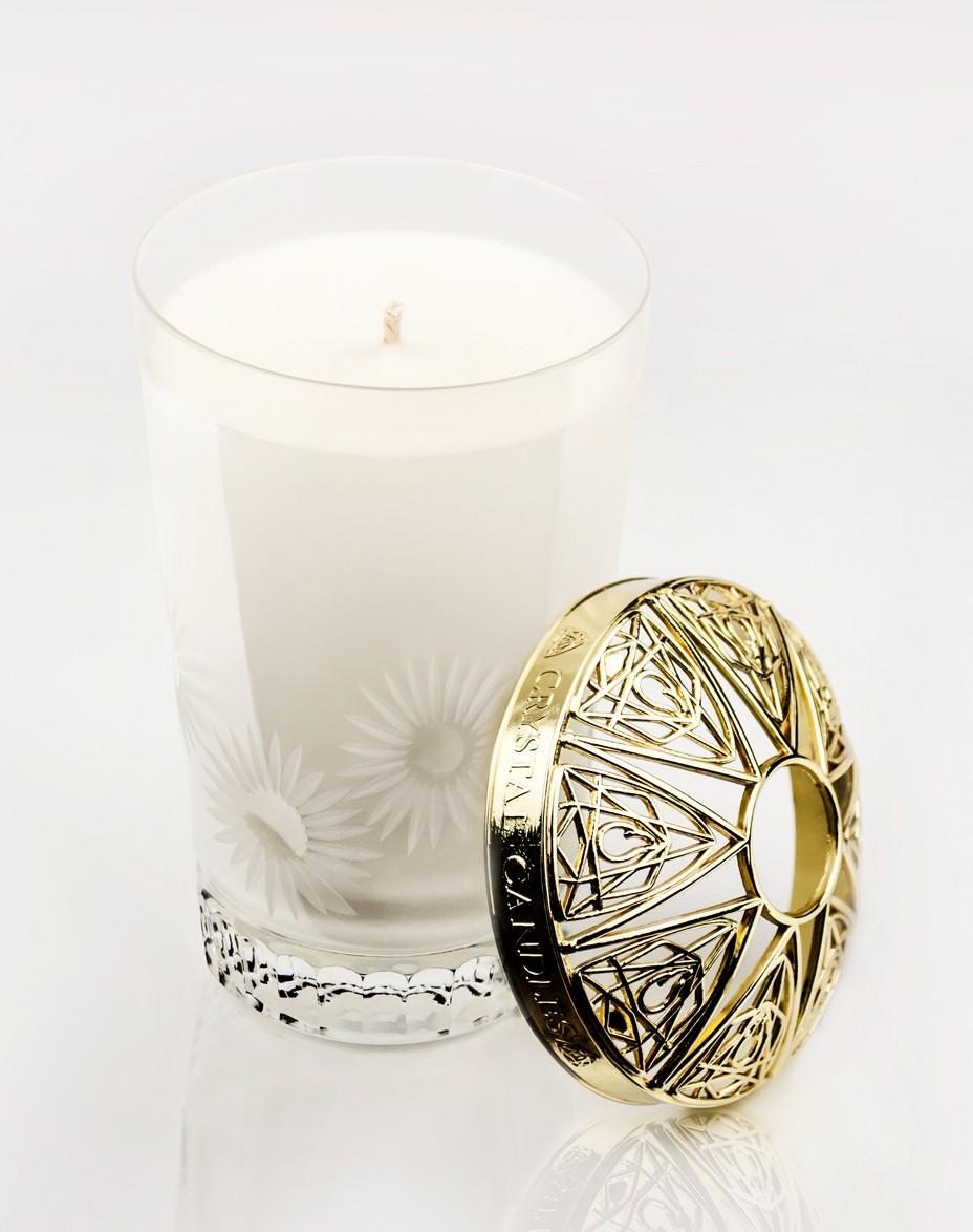 Biała Herbata i Mięta Crystal Candles luksusowa świeca w krysztale Emilia medium
