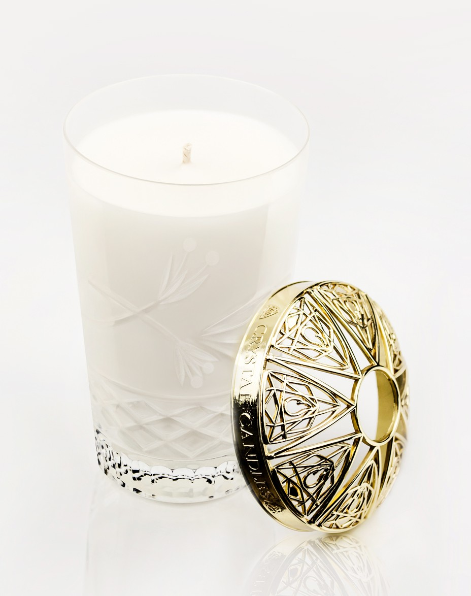 White Flowers Crystal Candles Scented Soy Candles Julietta Medium Gold Topper