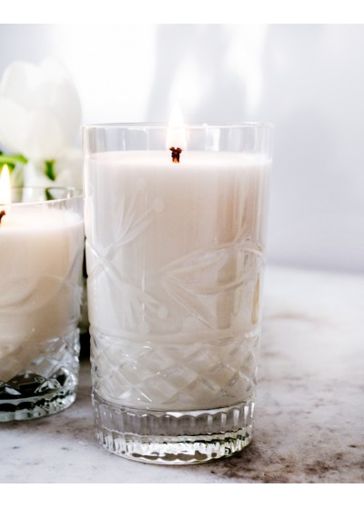 Crystal Candles Scented Soy Candles Julietta Medium White Flowers Luxury Elegant Scented Candles, soy wax, natural
