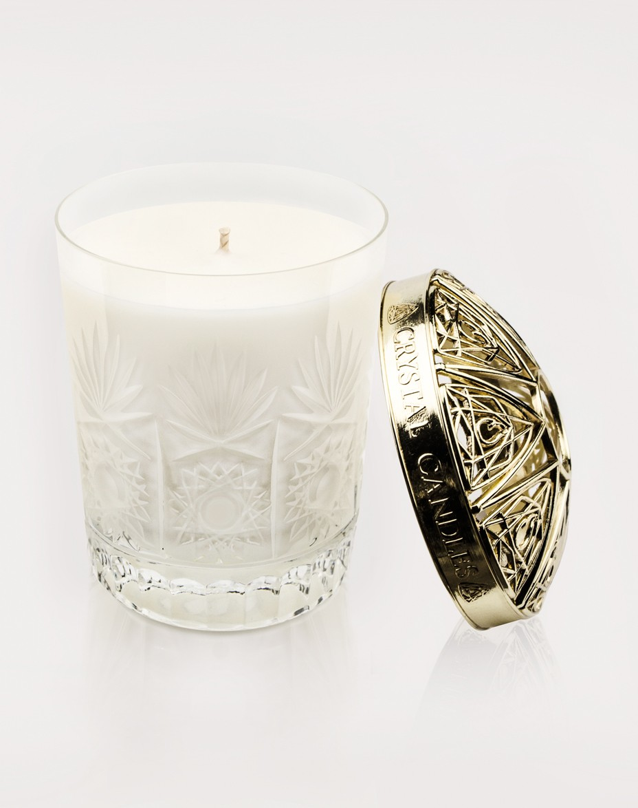 Cedarwood Rosemary Patchouli Crystal Candles Scented Soy Candles Victoria regular Gold Topper